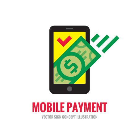 creative money: Mobile phone payment icon in flat style. Digital money dollar - template illustration. Smartphone currency - creative sign. Design element. Illustration