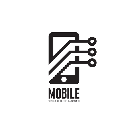 programm: Mobile phone vector template concept illustration. Smartphone creative sign. Modern technology. Cellphone symbol. Tablet PC icon. Design element. Illustration