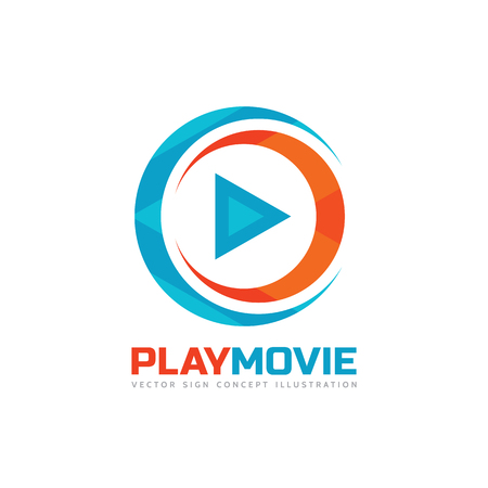 Play movie - vector template concept illustration. Music or movie player icon application. Multimedia sign. Digital tv symbol. Audio insinia. Abstract triangle shape. Çizim