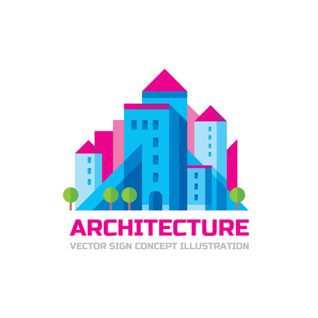 urban building: Architecture - vector template in flat style design. Real estate creative sign. Building concept illustration. City symbol. Urban abstract structure art. Illustration
