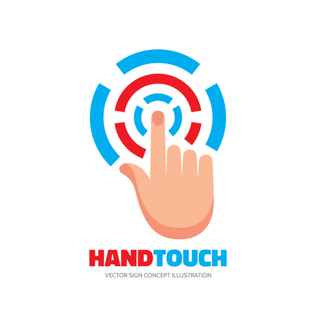 human touch: Touch screen finger - vector template concept illustration. Human hand on surface display. Modern mobile technology sign. Abstract symbol. Design element. Illustration