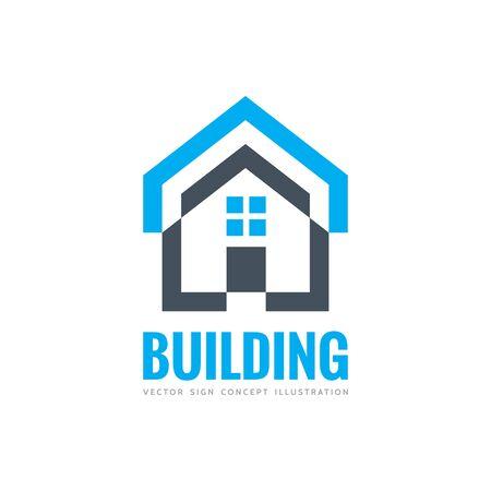 building estate: House building - vector concept illustration for presentation, booklet, website and other creative projects. Real estate. Design element. Illustration