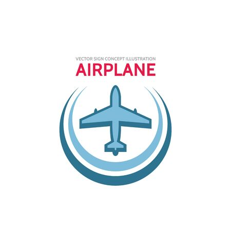airplane travel: Airplane - vector template concept illustration. Aircraft sign for transportation or travel company. Design elements.