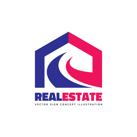 building structure: Real estate - vector template concept illustration. Abstract building house creative sign. Construction structure symbol. Design element. Illustration
