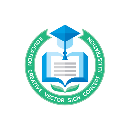 trencher: Education - vector template concept illustration in flat style design. Learning book sign. High school symbol. University insignia. Library icon. Illustration