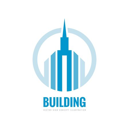 building estate: Real estate - vector template concept illustration. Building skyscraper silhouette sign in circle. Design element.
