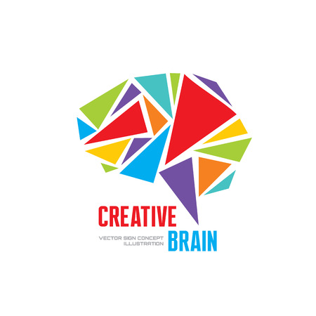 pondering: Creative idea - business vector template concept illustration. Abstract human brain creative sign. Infographic symbol. Triangle design element. Illustration
