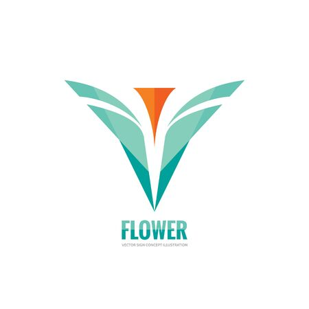 sign orange: Abstract flower with leaves - vector business template concept illustration. Orange tulip creative sign. Design element.