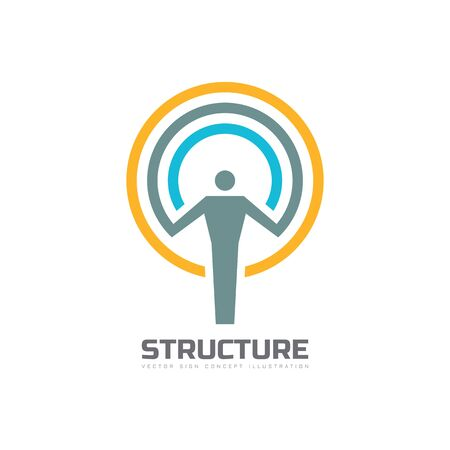 brand activity: Structure - vector template concept illustration. Human character abstract sign and circles. People icon. Man figure symbol. Design element.