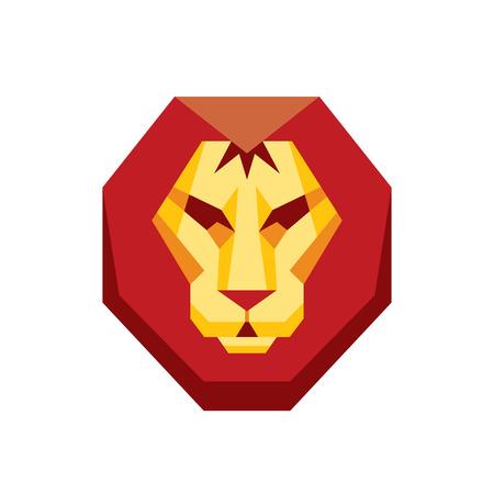 artwork: Lion head - vector sign concept illustration in flat style design. Wild cat graphic art. Design element.