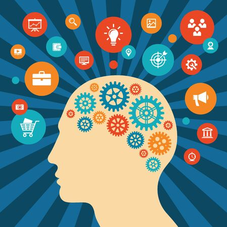 Human head and icons - vector concept illustration in flat style design. Creative idea inspiration layout. Brain abstract process banner.