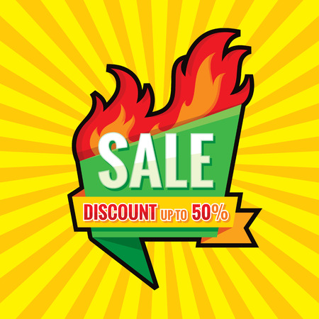 Hot sale - vector banner template concept illustration. Discount up to 50% - creative layout with origami badge and red fire flame. Design element. Vectores
