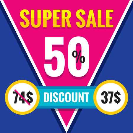 find similar images: Preview Save to a lightbox Find Similar Images Share Edit Stock Vector Illustration: Super sale - 50% discount - vector banner template. Creative concept layout illustration.