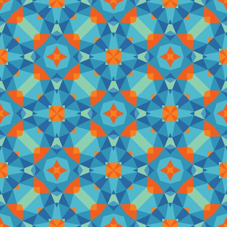 Abstract geometric background - seamless vector pattern in blue and orange colors. Ethnic boho style. Mosaic ornament structure. Carpet fragment. Illustration