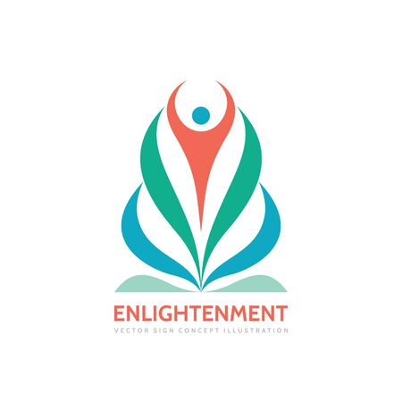 character abstract: Enlightenment meditation yoga - vector logo template concept illustration. Abstract human character sign and colored petals leaves.