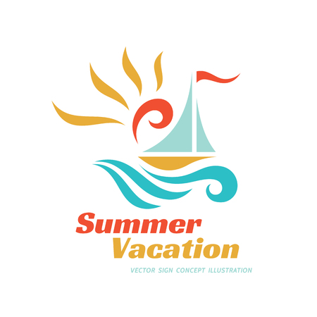 summer sign: Summer travel vacation vector logo concept illustration. Paradise resort color graphic sign. Sea waves, sun and sail.