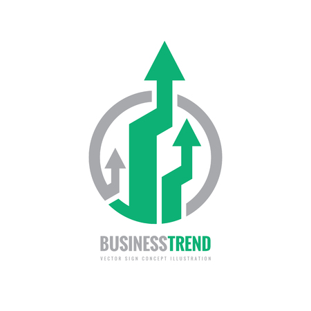 Business trend - vector logo concept illustration. Abstract arrows in circle. Finance growth graphic icon. Design element.