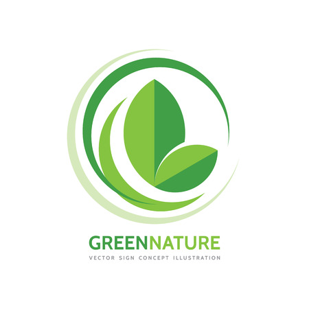 Green nature - vector business logo template concept illustration. Leaves and design elements. Organic product. Vettoriali