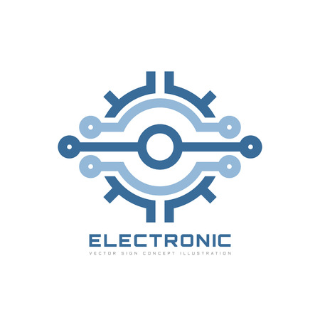Electronic technology - vector business logo template for corporate identity. Abstract chip sign. Network, internet tech concept illustration. Design element. Imagens - 69357379
