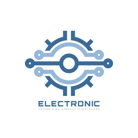 Tecnología electrónica - plantilla del logotipo del vector del vector para la identidad corporativa. Muestra abstracta de la viruta. Red, ilustración de concepto de tecnología de internet. Elemento de diseño.