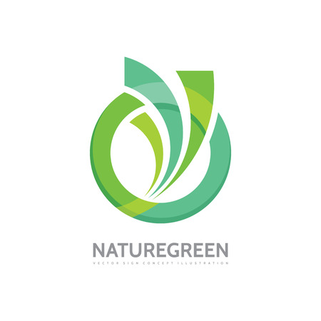 Nature green - vector business template concept illustration. Abstract circle and leaves shapes creative sign. Design element.