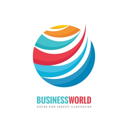 world globe: Business world - vector logo template concept illustration. Circle and abstract shapes sign. Colored globe symbol. Illustration
