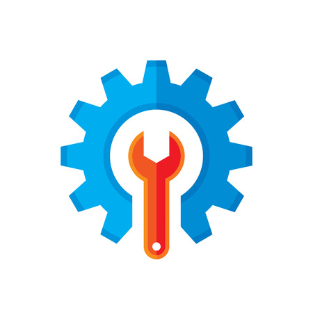 optimisation: Gear and wrench vector logo template concept illustration in flat style. Support icon. Setting flat icon. Cog sign. SEO insignia. Design element.