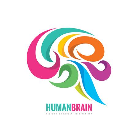 Idea creativa - ilustración de concepto de la plantilla de la insignia del vector del negocio. Signo colorido abstracto del cerebro humano. Elemento de diseño suave y flexible.