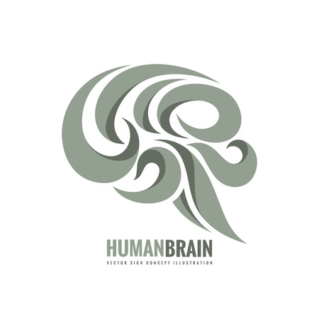 Creatief idee - zakelijke vector logo sjabloon concept illustratie. Abstract menselijk hersenen teken. Flexibel glad ontwerpelement.
