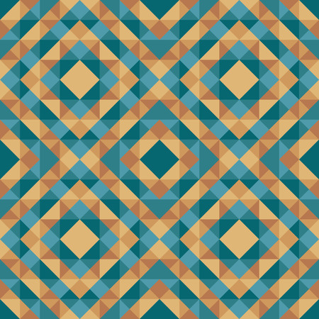 Abstract geometric background - seamless vector pattern in green blue and gold brown colors. Ethnic boho style. Mosaic ornament structure. Carpet fragment. Vector Illustration