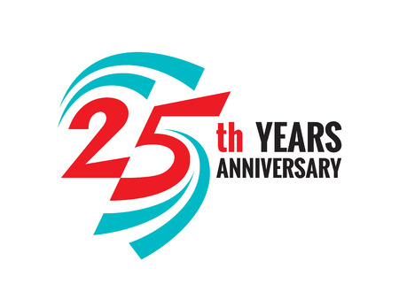 Creative emblem 25 th years anniversary. Twenty five template logo badge design element.