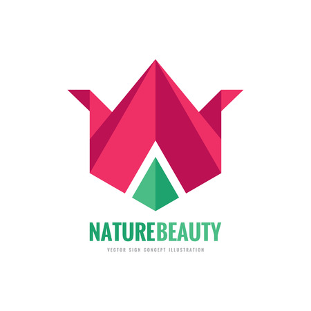 Nature beauty - vector template concept illustration in flat and origami style. Abstract tulip sign. Geometric flower creative symbol. Design element.
