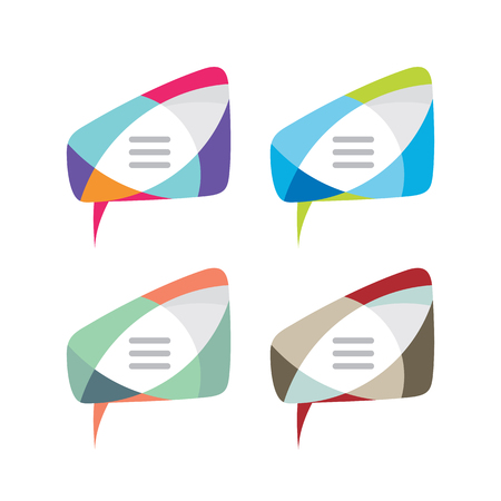 Message - vector template concept illustration. Speech bubble creative sign in four color variation. Internet chat icon. Abstract vitrage mosaic. Dialogue frame. Geometric design element.