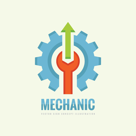 cog gear: Mechanic machine - vector business template concept illustration. Gear factory sign. Cog wheel, wrench and arrows technology symbol. Design element. Illustration
