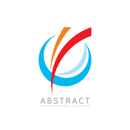 Application - vector business concept illustration. Colored ring with abstract shapes. Positive geometric sign in optimism style. Design element.