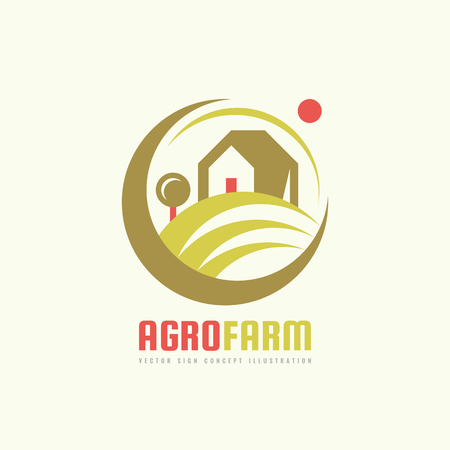 agro: Agro Farm - vector template concept. Organic eco product sign. Plantation illustration. Ecology nature emblem. Design element.