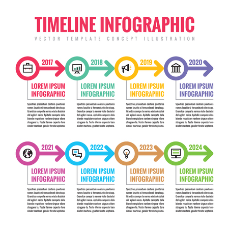 Infographic business vector concept in flat style - horizontal timeline template with arrows and icons for presentation, booklet, web and other creative design projects. Illustration