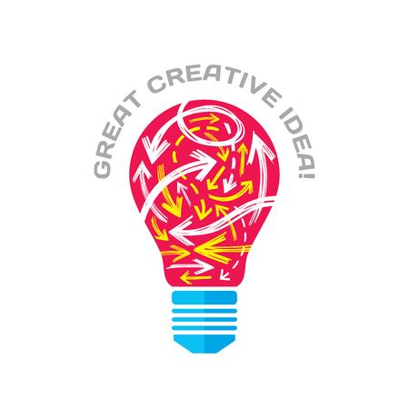 idea sketch: Great creative idea - vector concept illustration. Lightbulb and sketch arrows. Electric lamp symbol. Brainstorm sign. Design element.