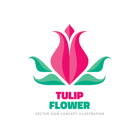 beauty of nature: Tulip flower - vector template concept illustration in flat style. Abstract beauty nature creative sign. Design element.