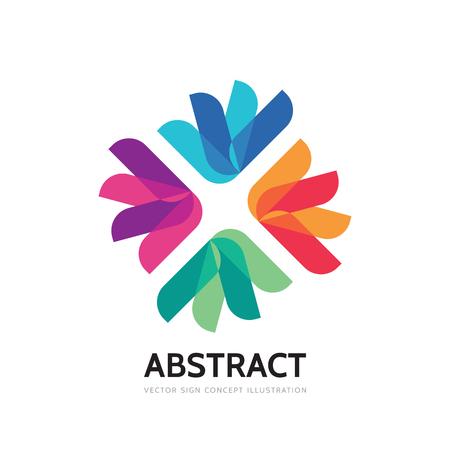 Abstract vector template illustration. Social media communication creative sign. Concept geometric flower symbol. Friendship teamwork colorful icon. Design element. Illustration