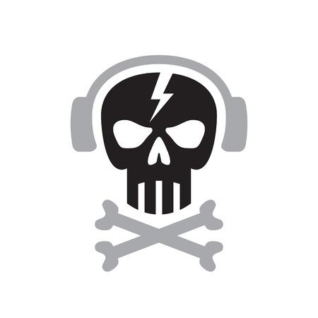 thrash: Human skull with headphones sign - vector template concept illustration. Design element.