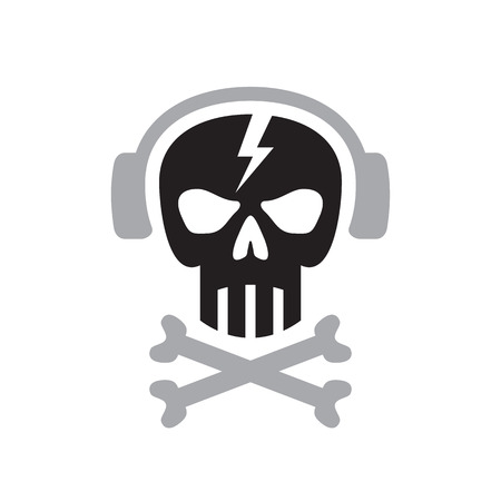 Human skull with headphones sign - vector template concept illustration. Design element.