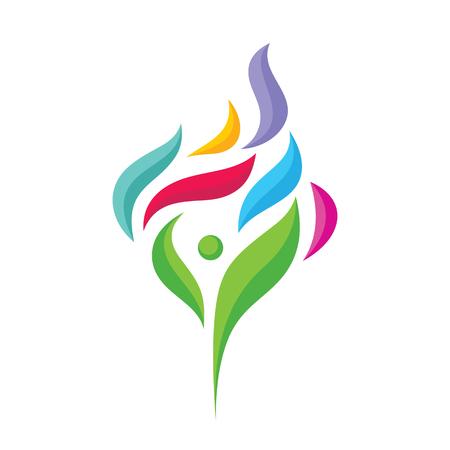 Carácter humano abstracto con pétalos de colores - vector logo plantilla concepto ilustración. Verde y colorido deja signo creativo. Símbolo de optimismo positivo. Icono de abstracción de árbol. Elemento de diseño