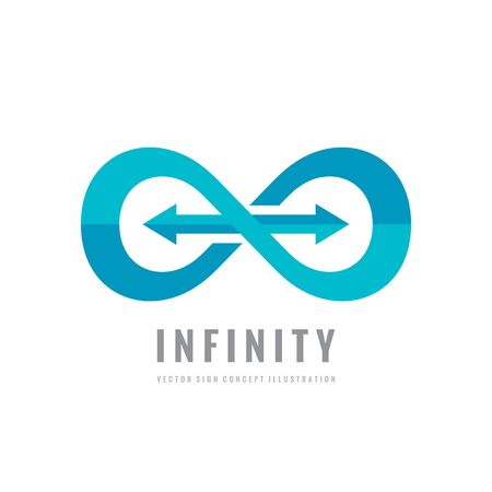 programm: Infinity - vector template concept illustration. Abstract shape with arrows creative sign. Design element.