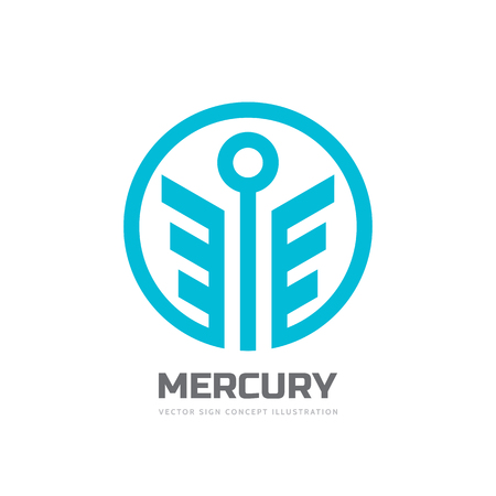 mercury staff: Mercury - vector template concept illustration. Stylized God of trade abstract creative symbol. Happiness business symbol. Wings in circle shape. Design element.