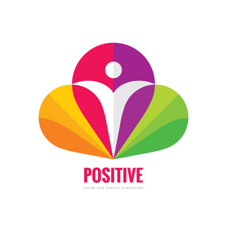 Positive - vector template concept illustration. Abstract human character silhouette in petals of flower sign. Vibrant color symbol. Design element.