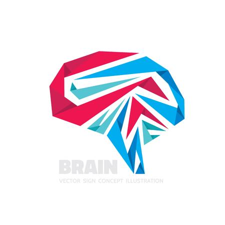 pondering: Abstract human brain - business vector logo template concept illustration. Illustration