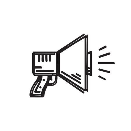 draw a sketch: Loudspeaker - creative sketch draw vector illustration. Megaphone graphic icon sign. Illustration