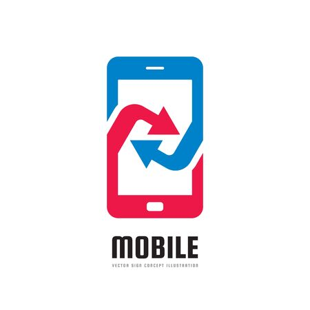 programm: Mobile phone application - vector logo template concept illustration. Abstract smartphone with arrows sign. Design element.