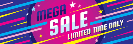 Mega sale discount - vector layout concept illustration.